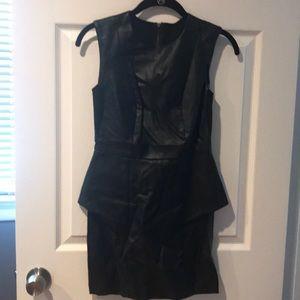 Bcbg black faux leather dress